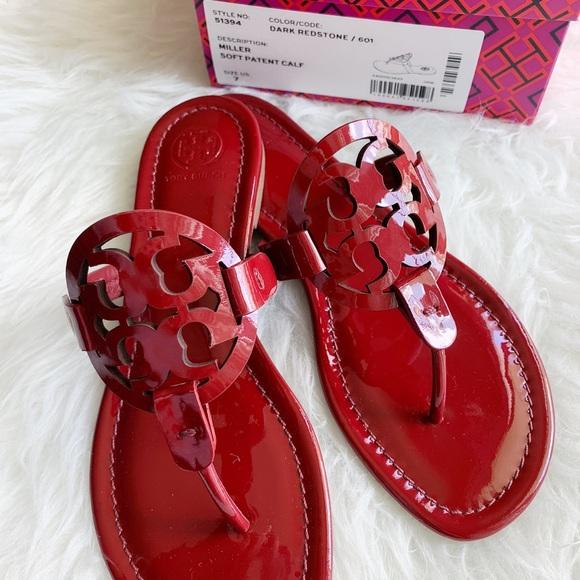 eeb3981cc70cd Tory Burch Miller sandals patent dark redstone